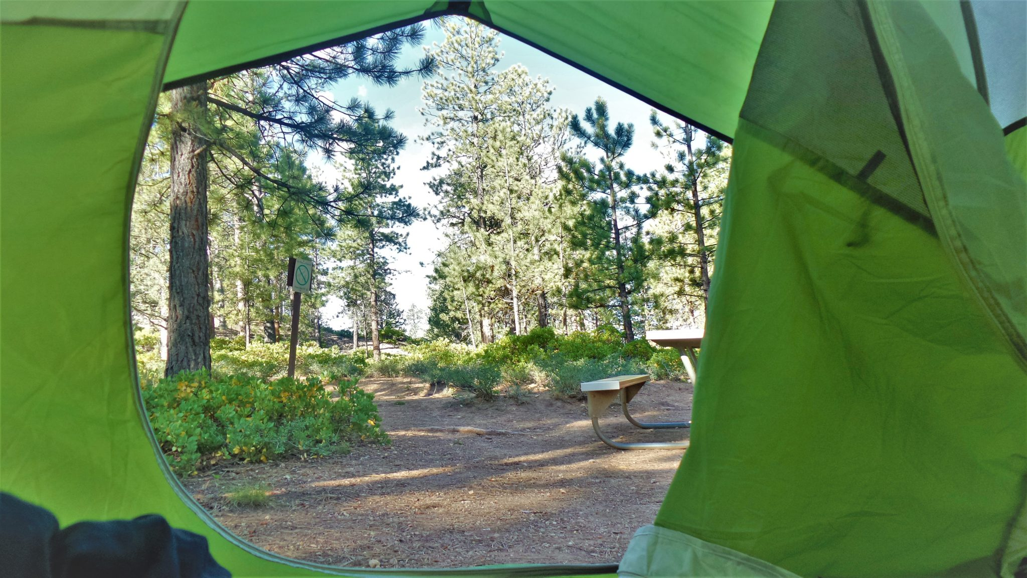 Tent view from Bryce Canyon national park camping