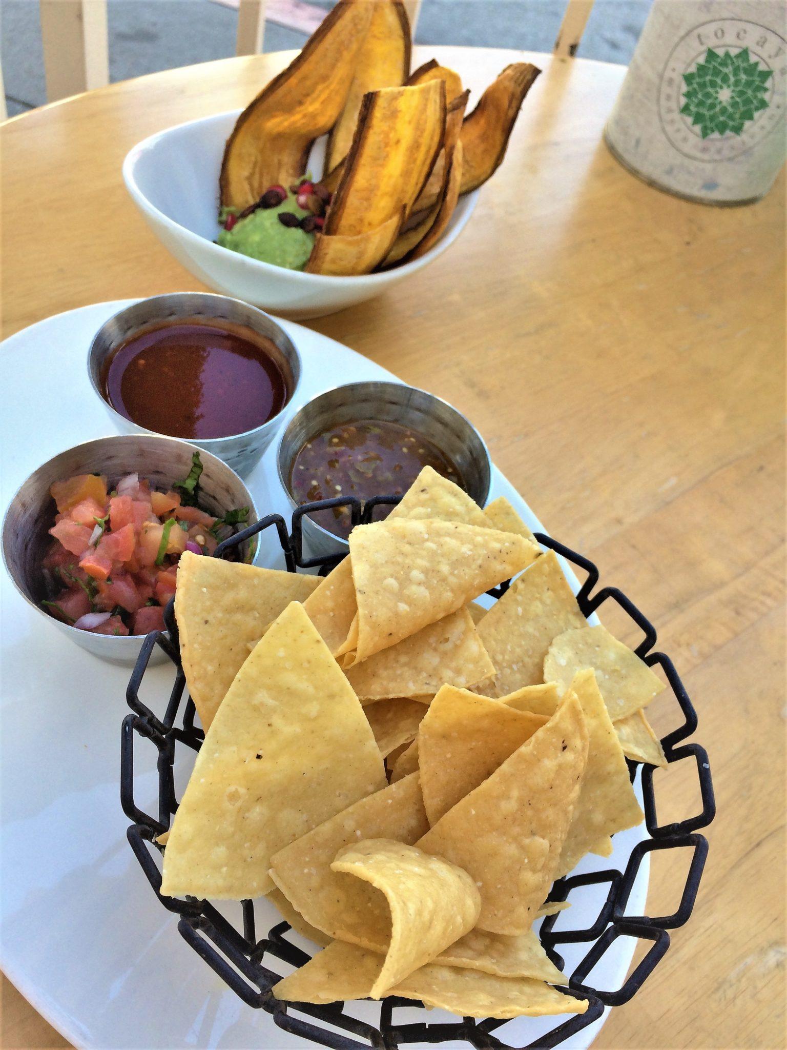 Vegan restaurants Los Angeles, Tocaya Organica, California, Chips and guac