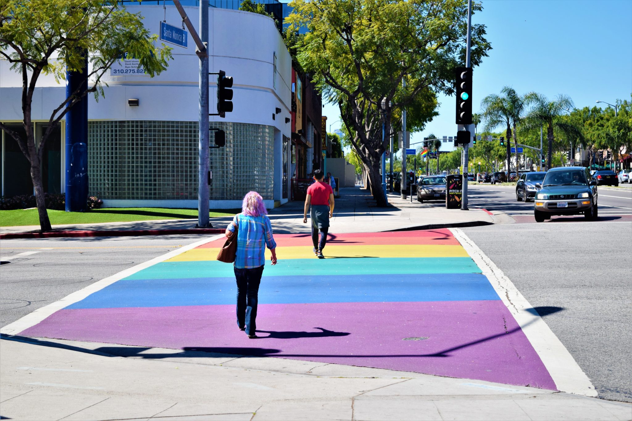 West Hollywood pride crossing, hop on hop off bus los angeles