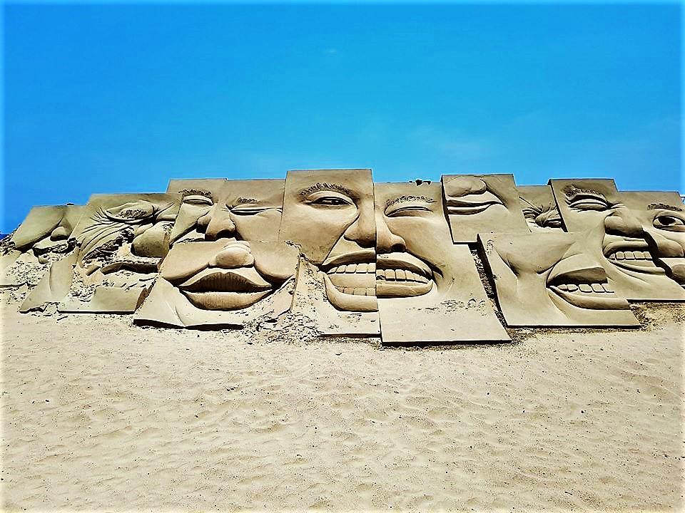 Beach face sculptures, South Korea