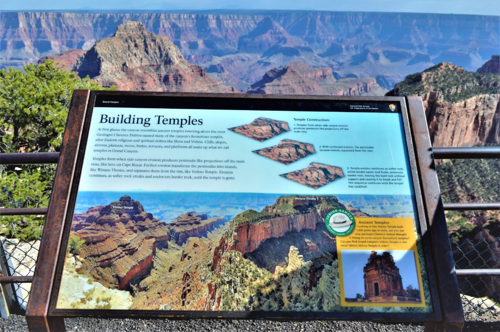 Building Temples Sign, Grand Canyon North rim