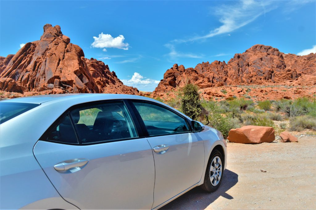Car at the valley of fire state park, utah