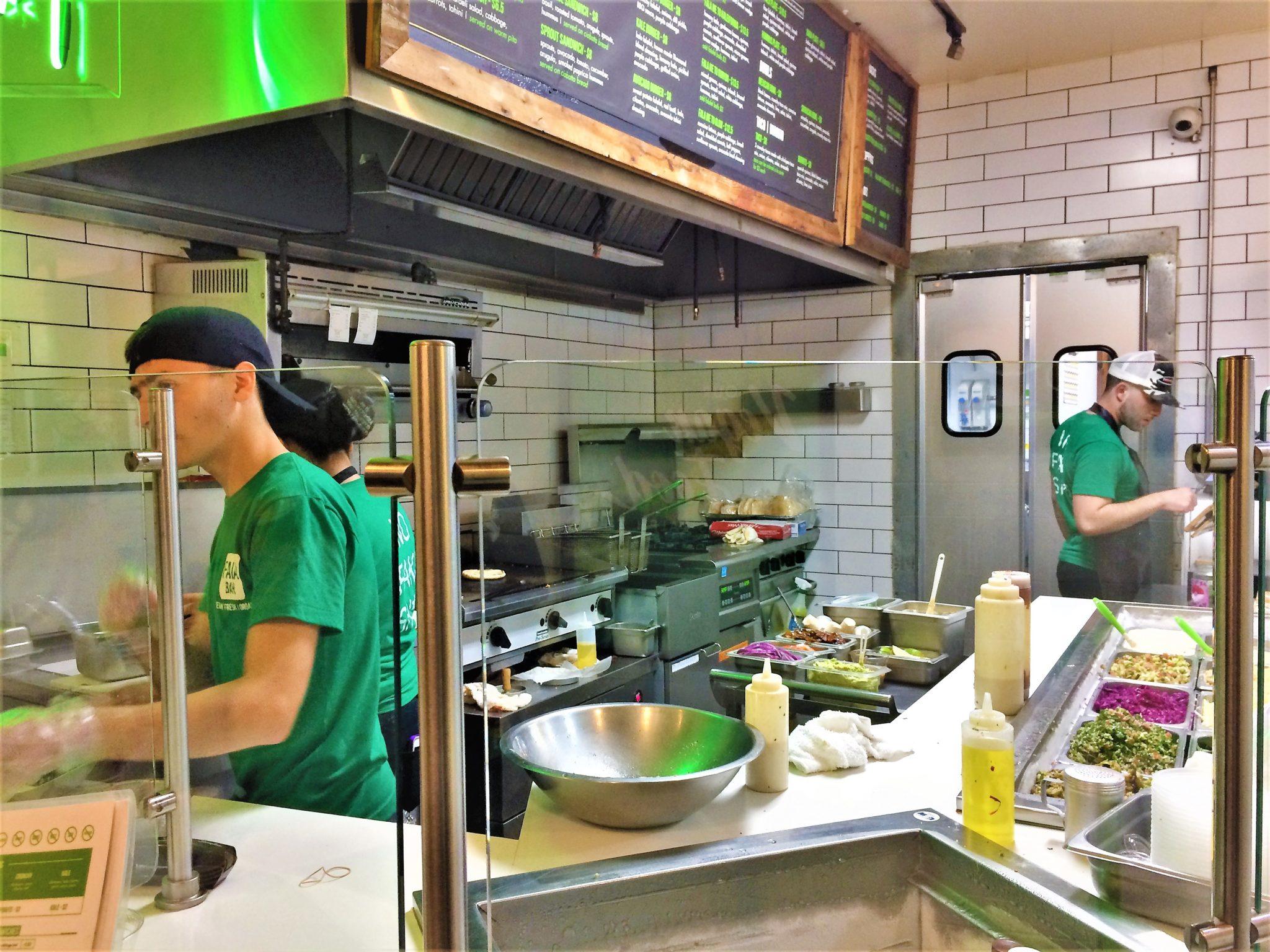 Fala bar salad counter, vegan Los Angeles