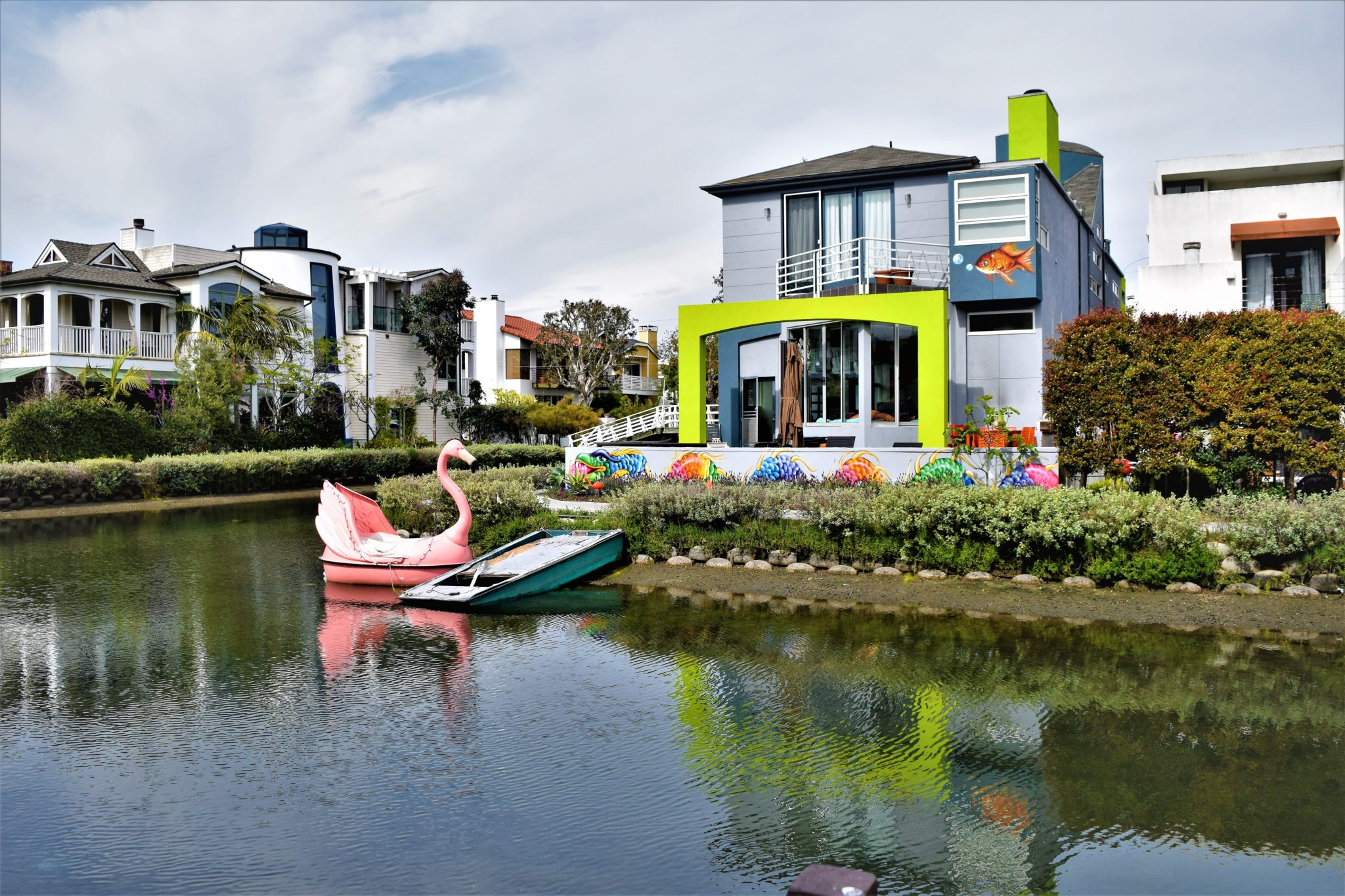 Flamingo boat at the Venice Canals, Los Angeles