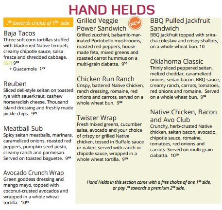 Hand helds at Native Foods Cafe, Palm Springs