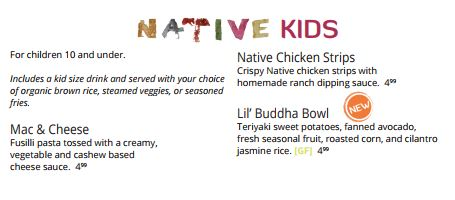Native Foods Cafe Kids Menu