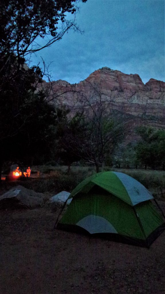 Night camping at Zion National Park, Utah