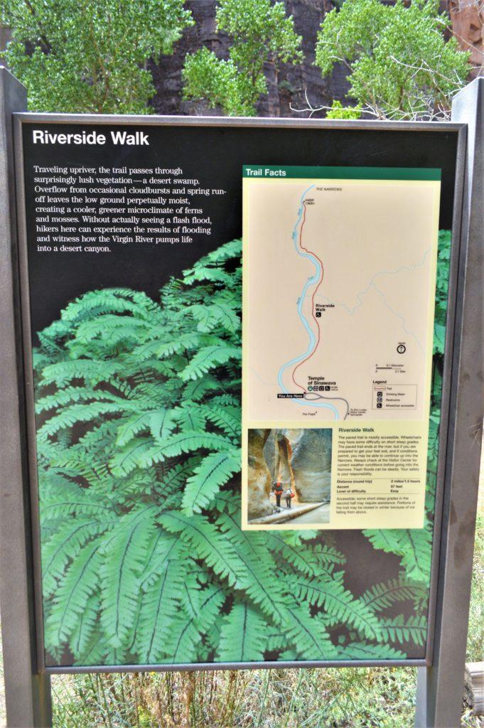 Riverside Walk sign, Zion National Park