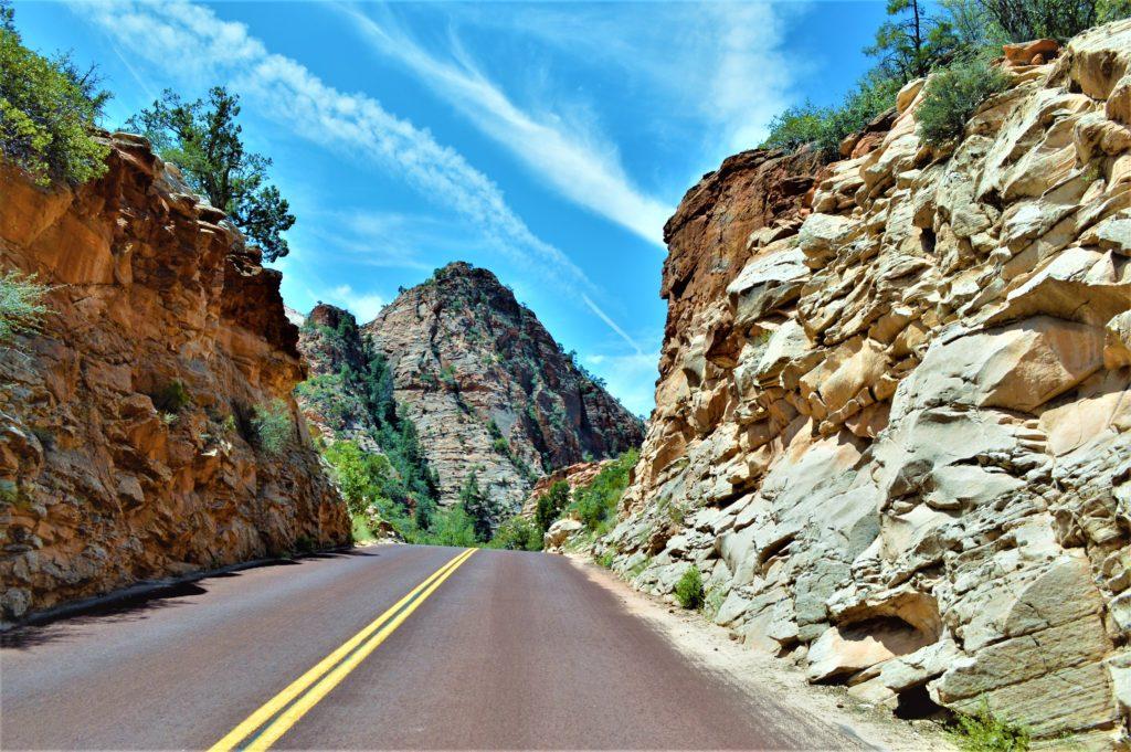 Road through Zion National Park, Utah