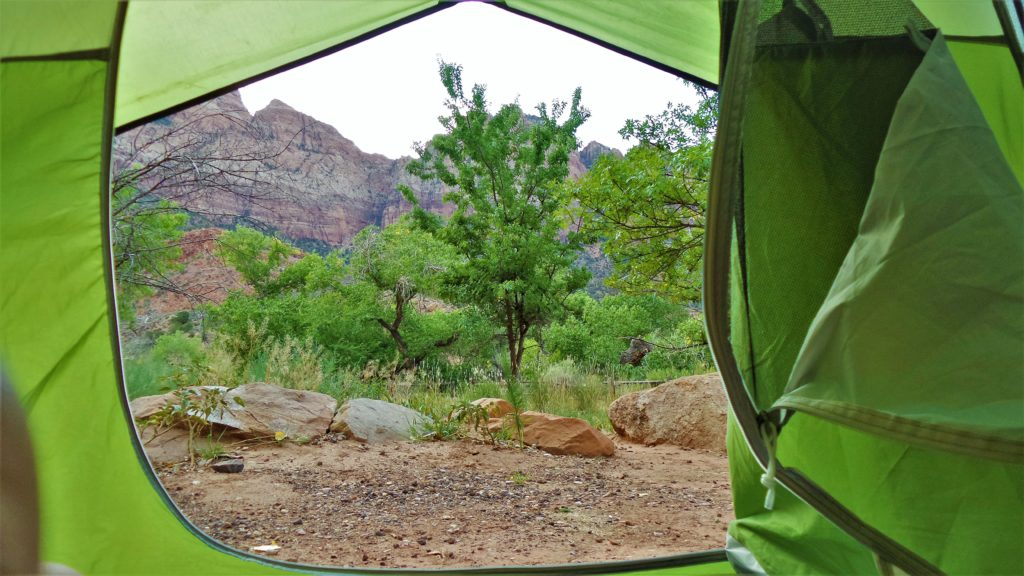 Tent view Zion National Park Camping