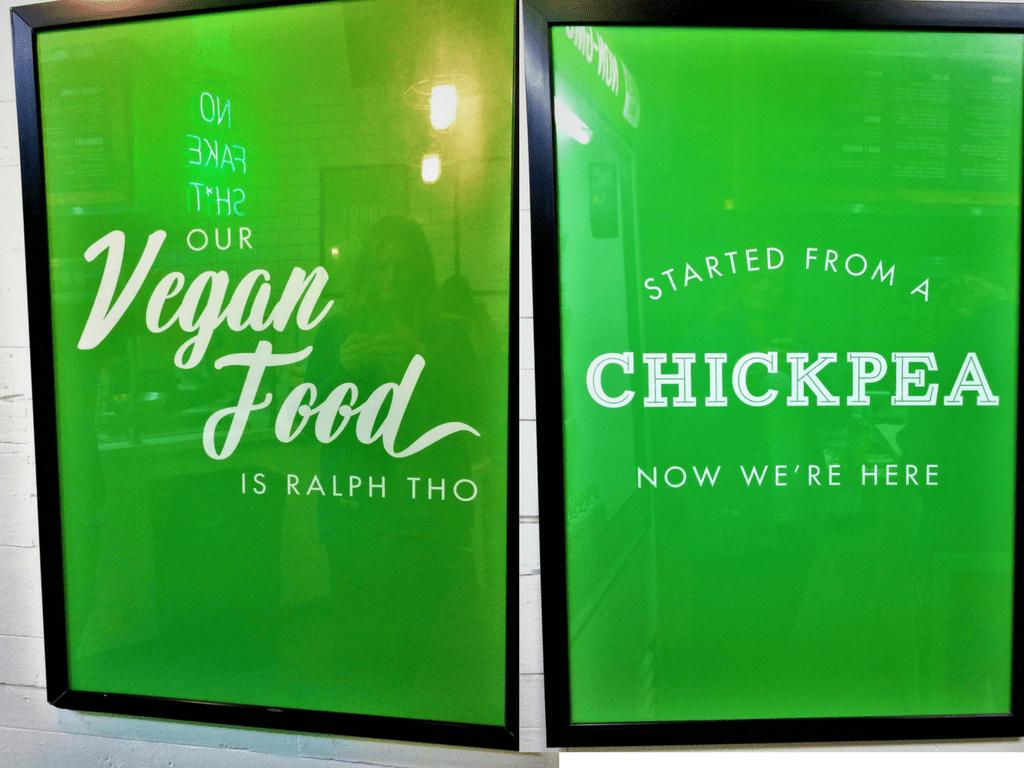 Vegan signs in Fala Bar Los Angeles