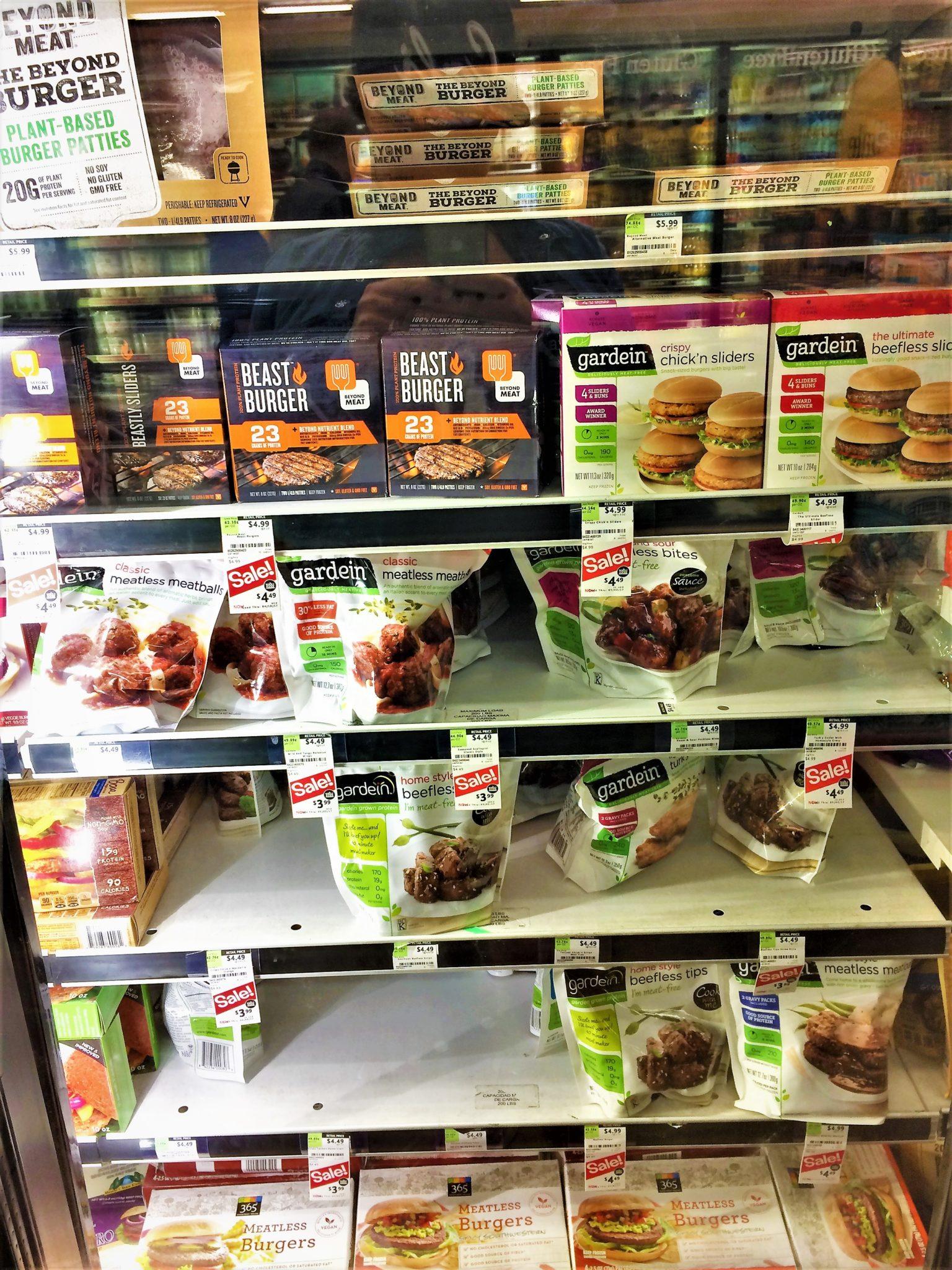 Vegan freezer section at Whole food supermarket, los angeles