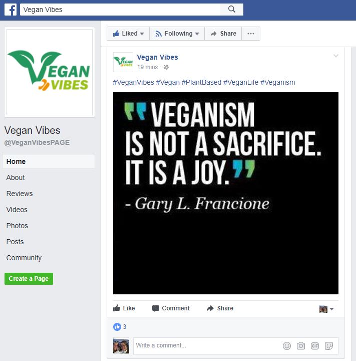 Vegan groups on facebook