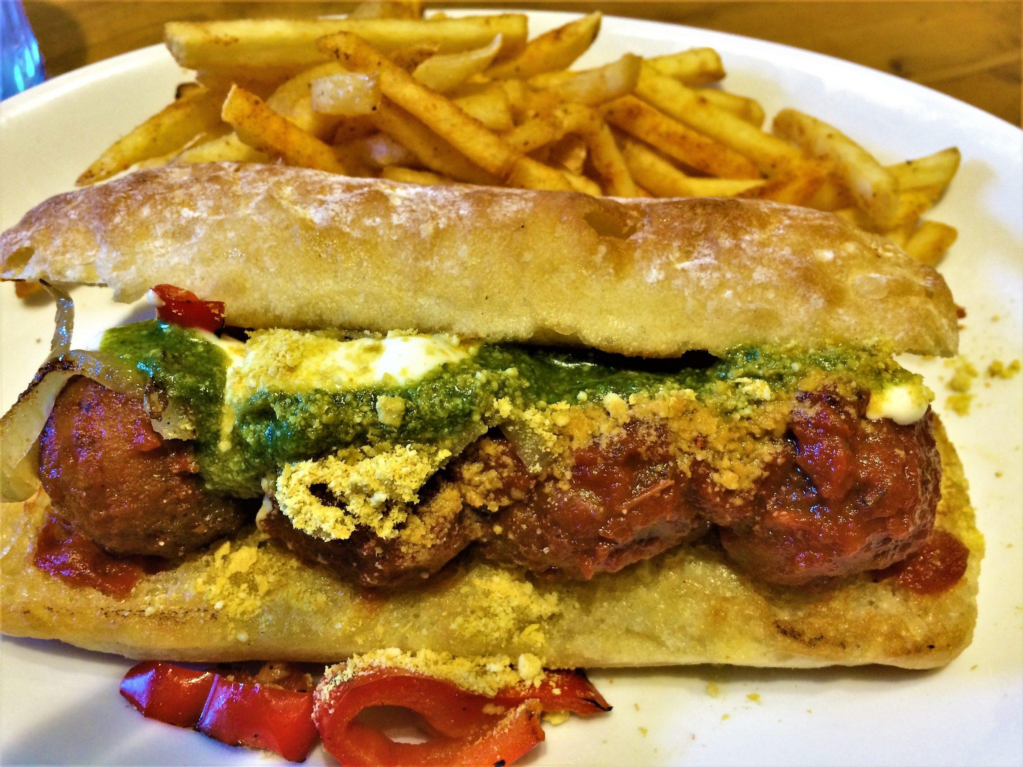 Vegan meatball sub, Native food cafe, Palm Springs, California