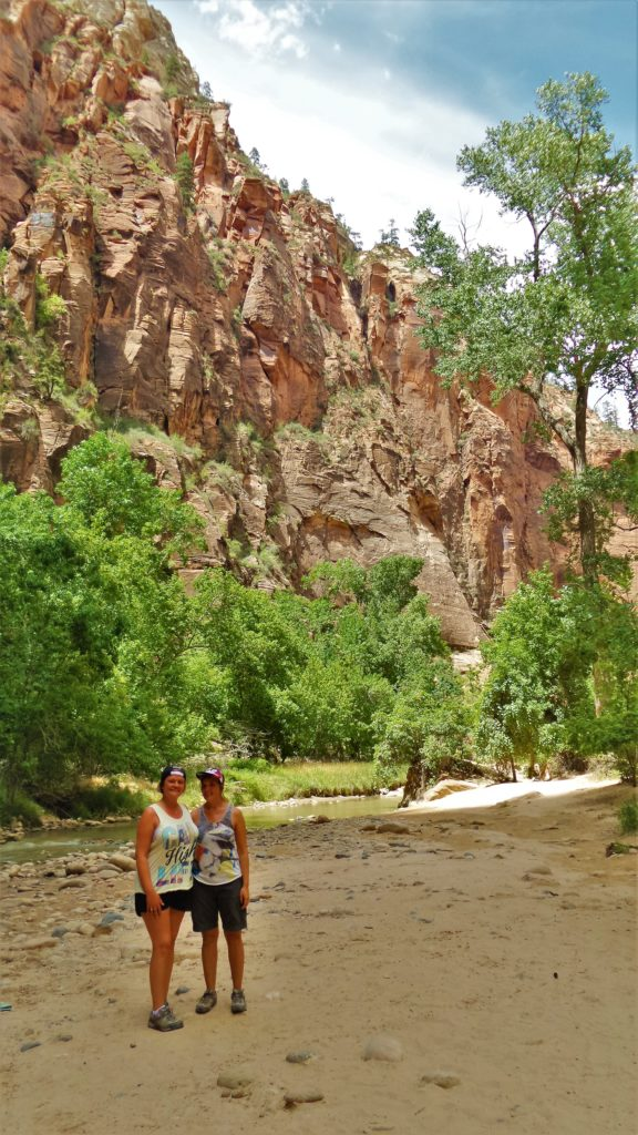 Zion National Park mini beach on the narrows hike