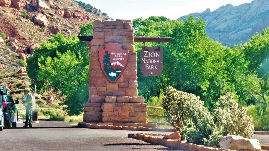 Zion National park entrance sign, Utah