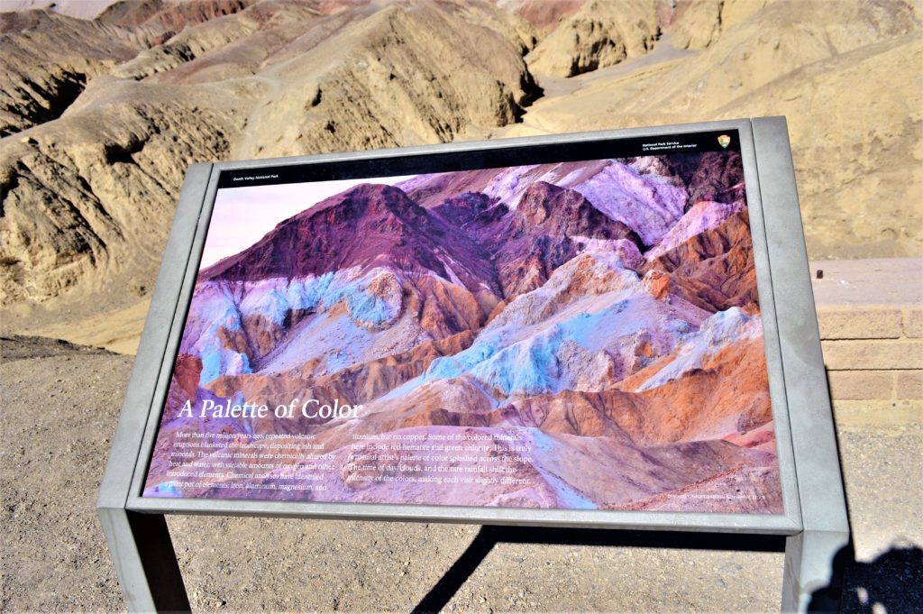 A palette of colour sign in death valley national park, usa