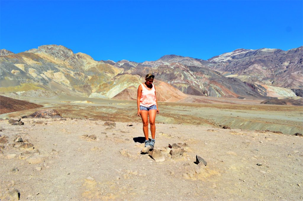 Artist drive paint pots, camping in death valley, usa