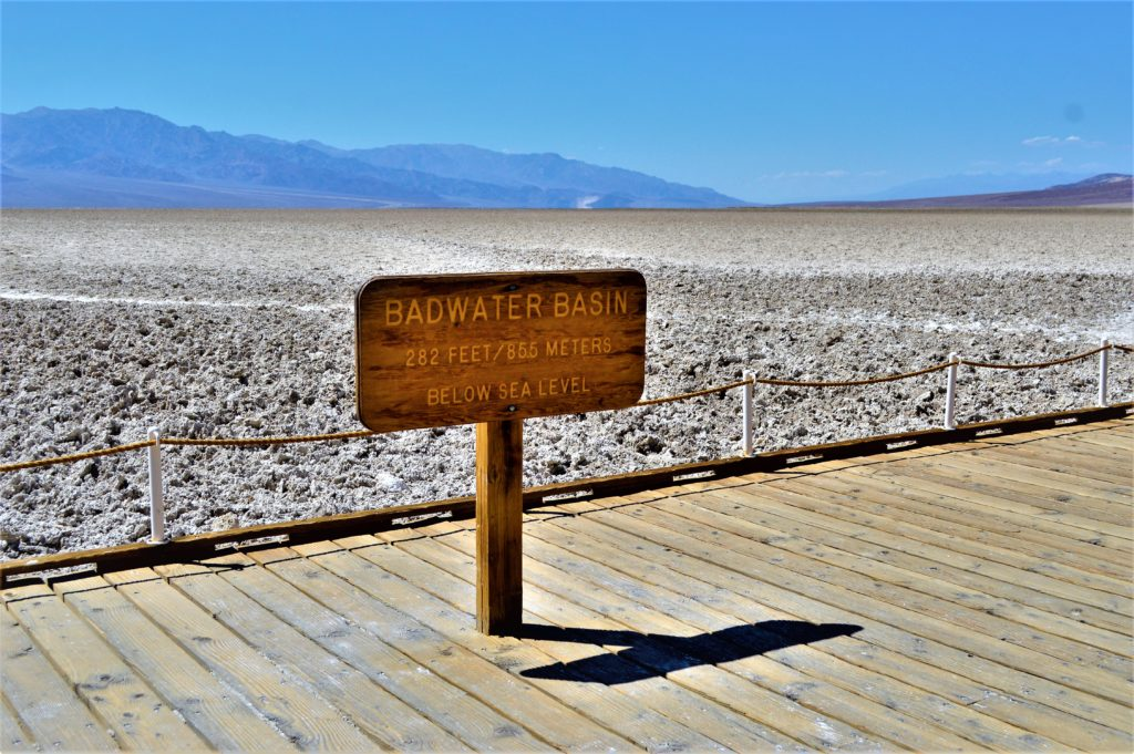 Badwater Basin sign, death valley national park, usa
