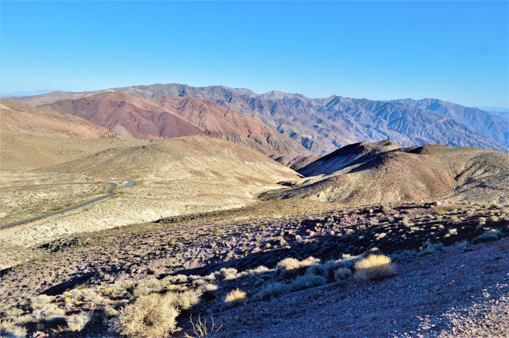 Camping in death valley national park, dante's view, usa