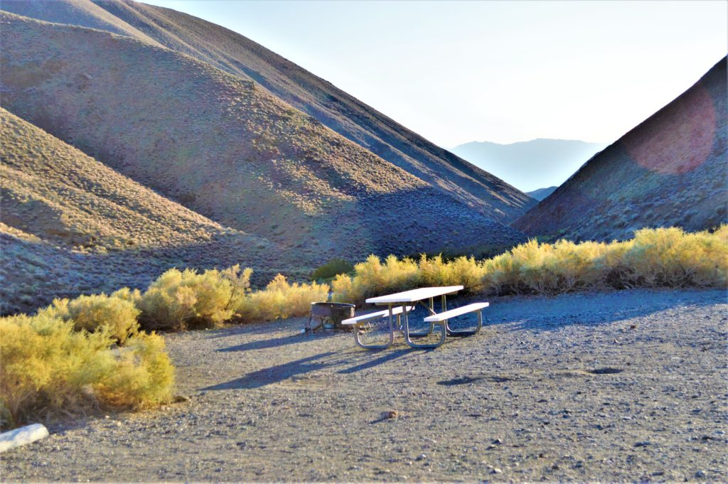 Camping spot at wild rose campground, death valley national park