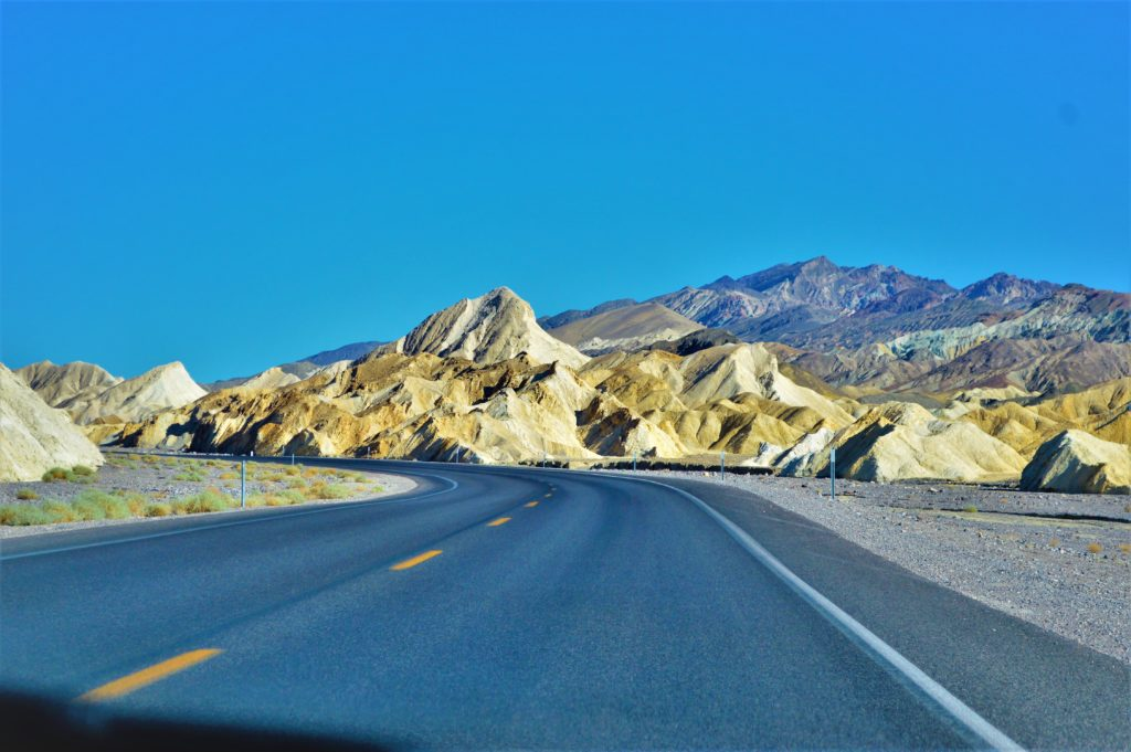 Cliffs by the road in Death valley national park, usa