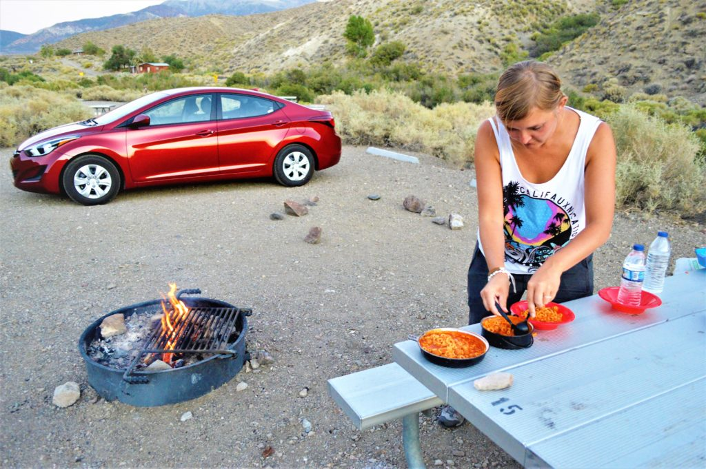 Cooking on campfire, death valley national park