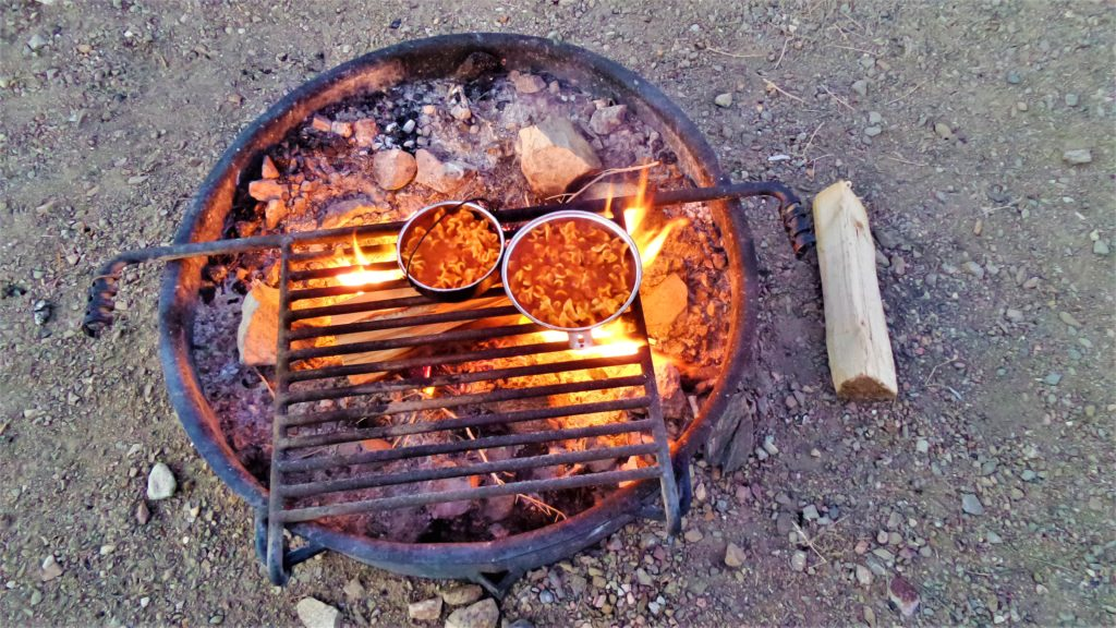 Cooking on fire pit, death valley national park
