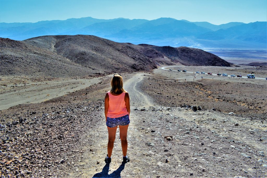 Standing at viewpoint, death valley, usa