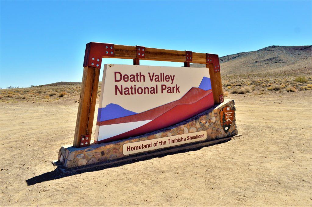 Death Valley National Park sign, USA