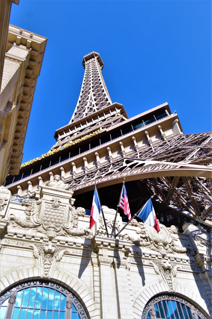 Eiffel tower above Paris hotel, las vegas