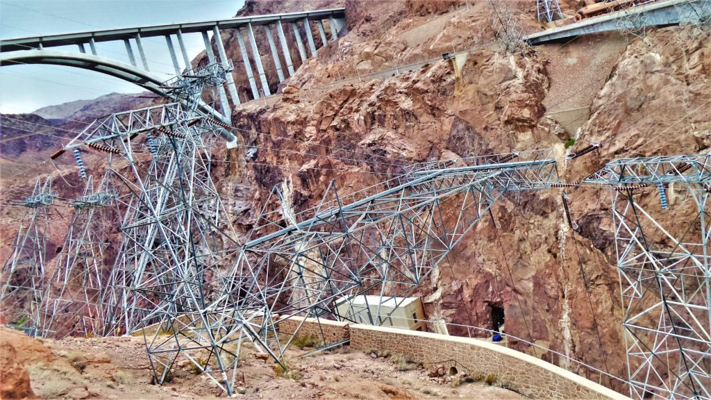 Electric pylons at hoover dam bridge, las vegas, nevada