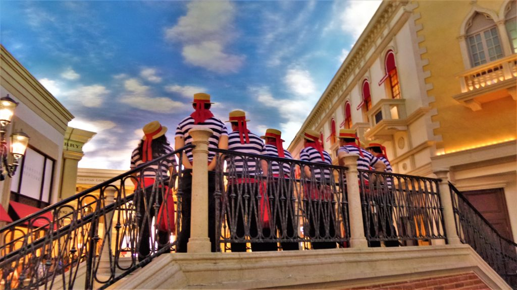 Gondoliers at the Venetian hotel, Las vegas, nevada