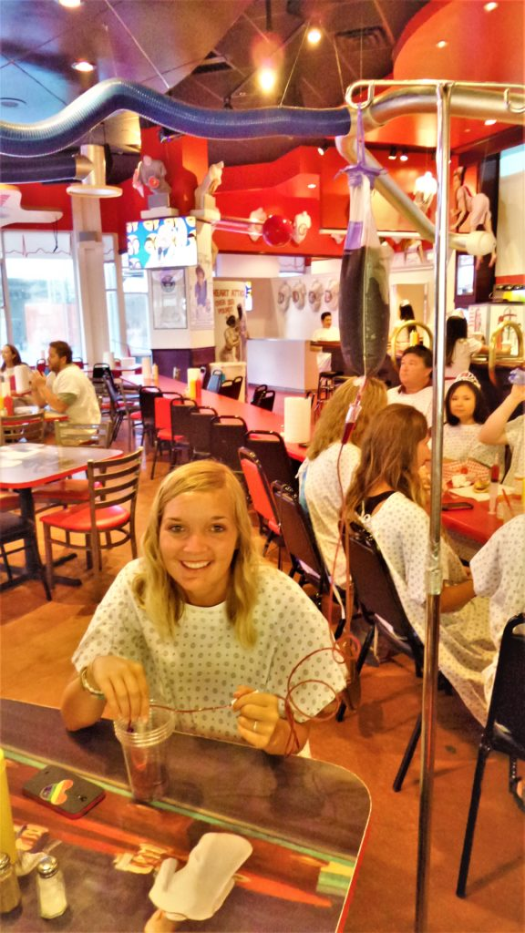 IV wine in heart attack grill, las vegas