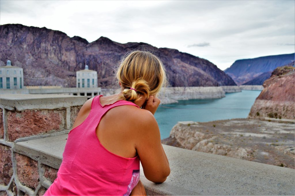 Looking over Lake Mead, nevada, standing on the hoover dam