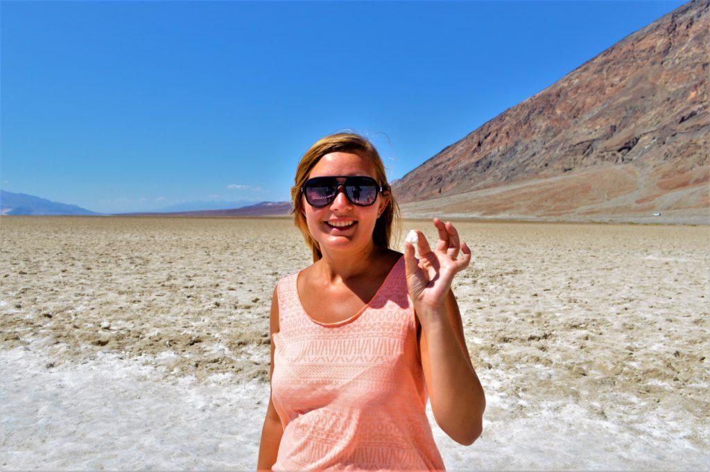Picking up salt, salt flats, death valley national park