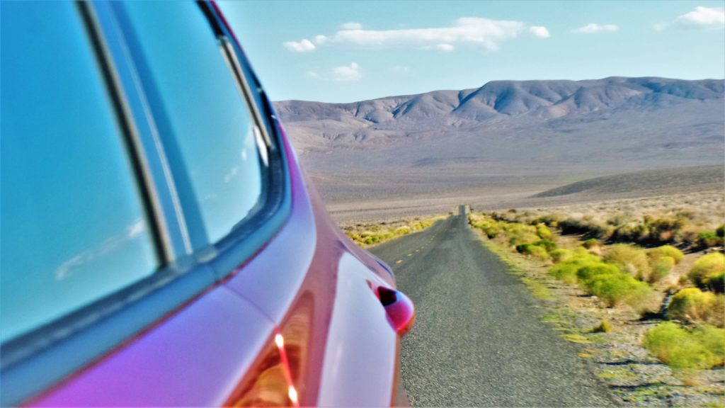 Rear view mirror, death valley national park, usa