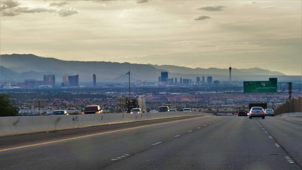 View of las vegas strip from freeway, nevada