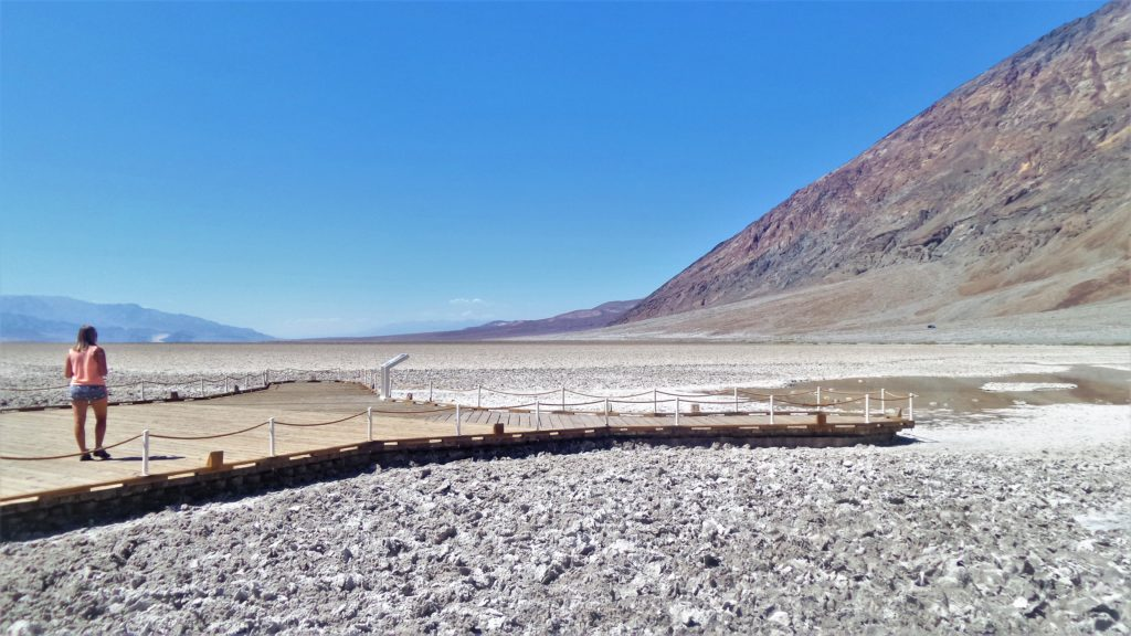 Viewing platform, badwater basin, death valley national park, usa
