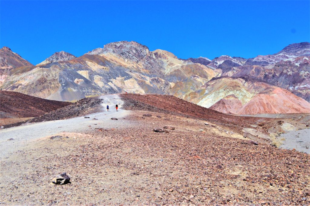 Walking on artist paint pots, camping in death valley national park, USA