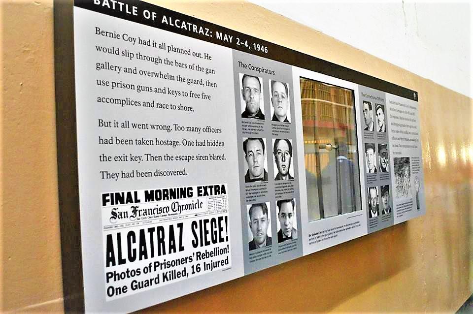 Battle of Alcatraz information board, San Francisco, California