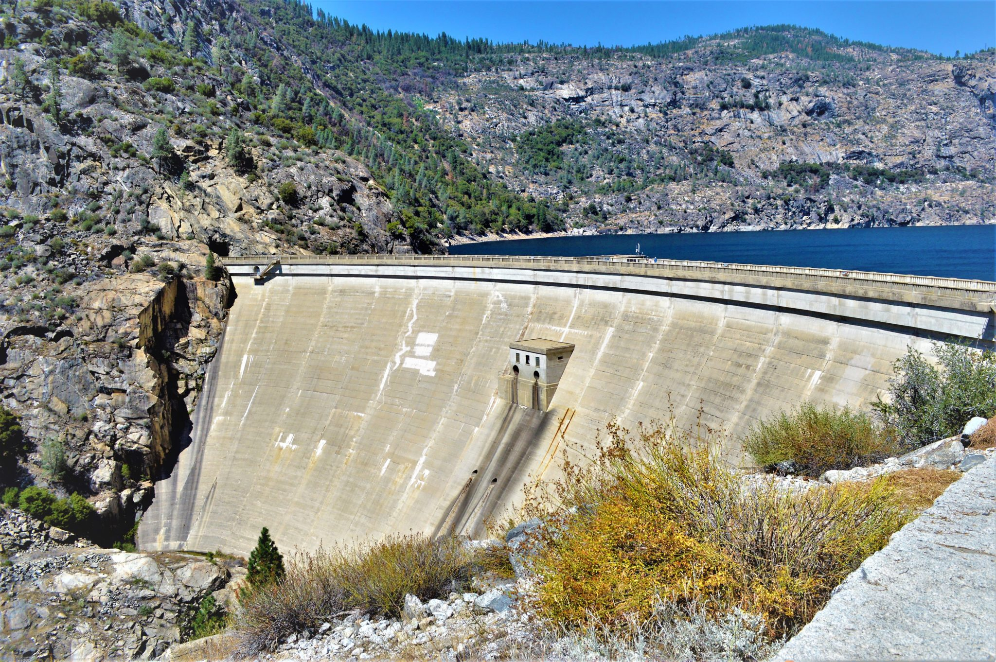 Close up Hetch Hetchy dam, California