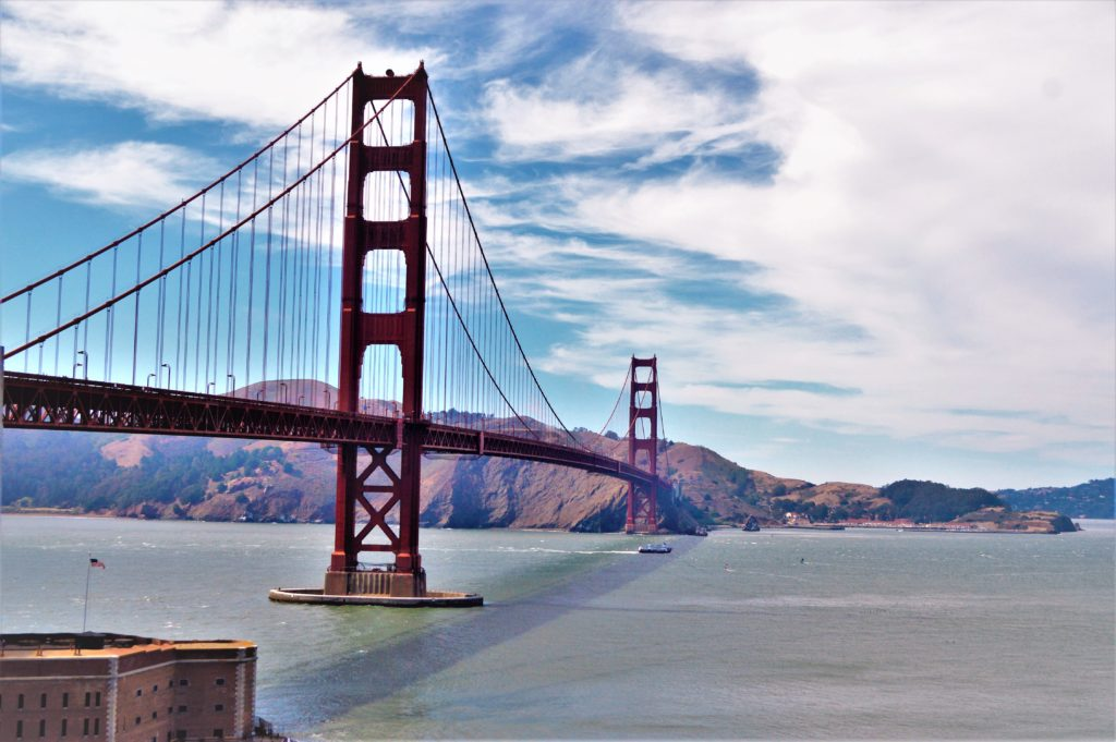 Golden Gate bridge view from Palisades Park, San Francisco