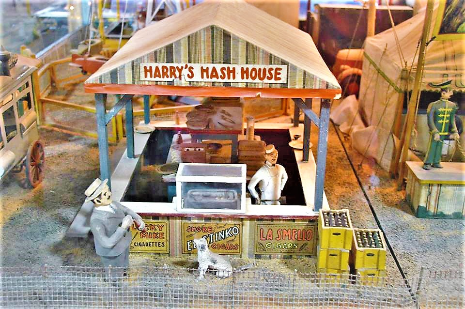 Harry's Hash House, model at old antique arcade, San Francisco