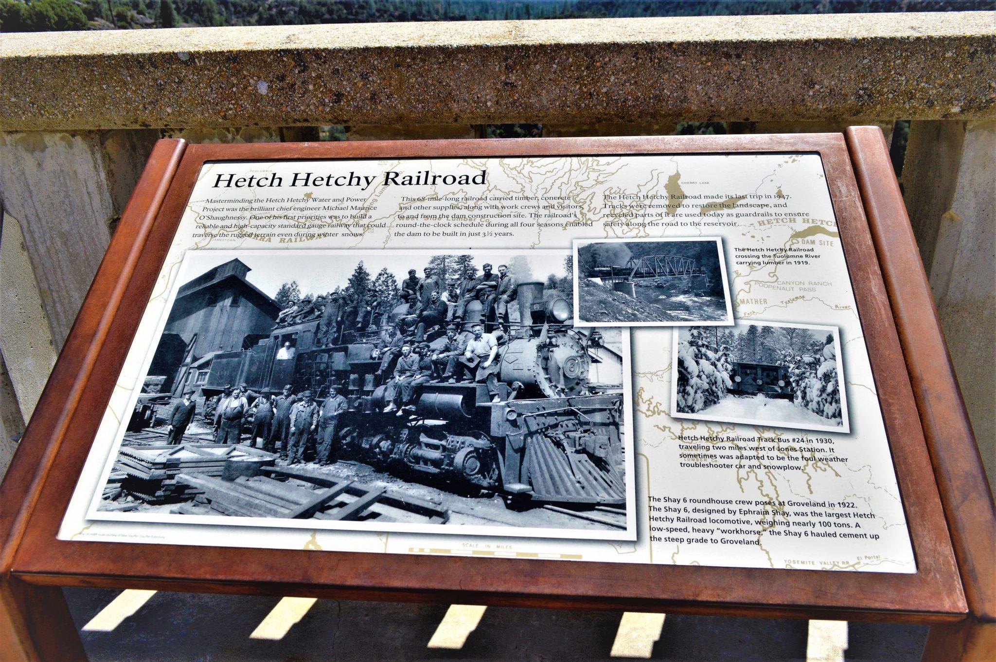 Hetch Hetchy railroad information board, California