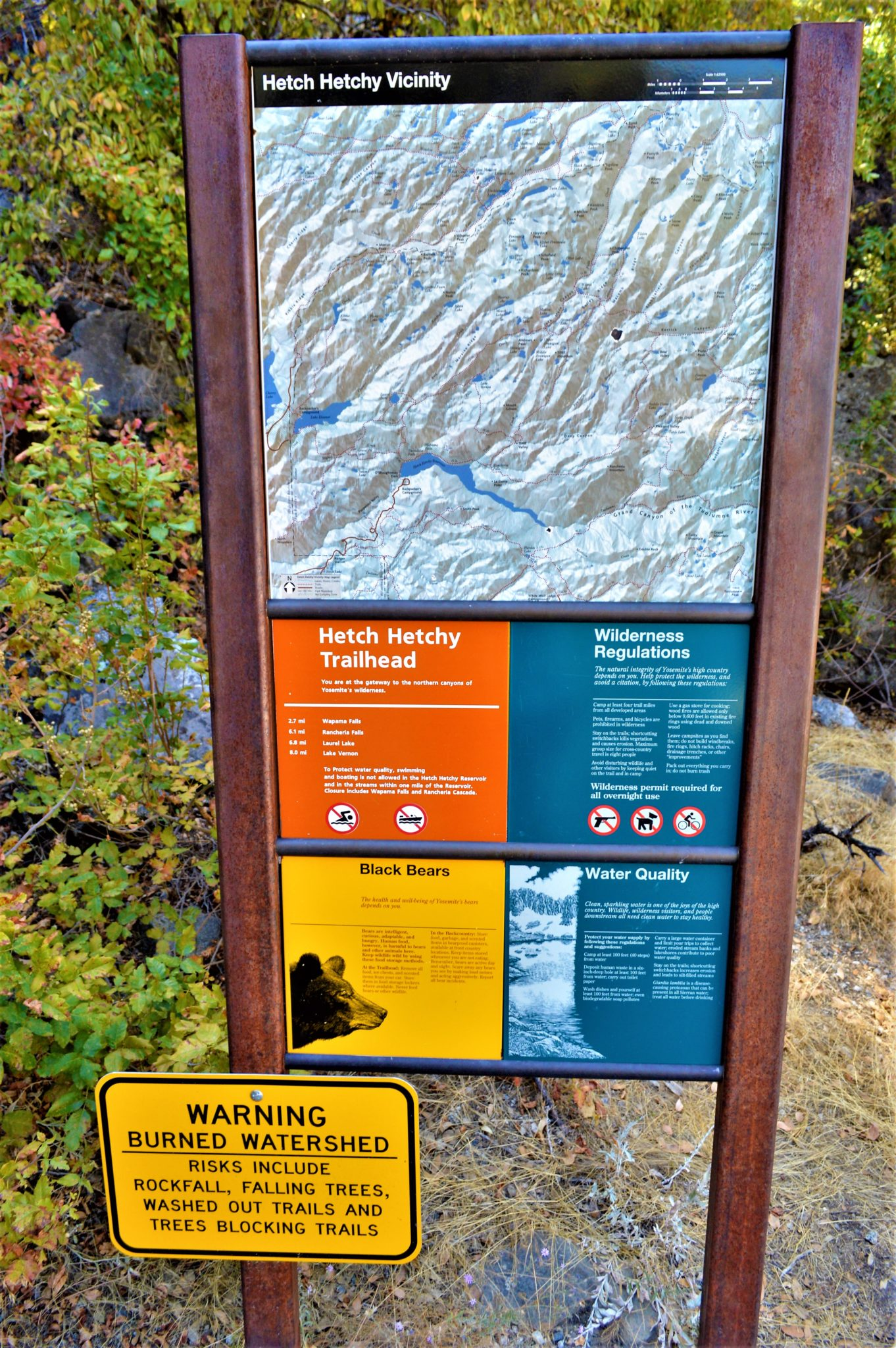 Hetch Hetchy trail head sign, California