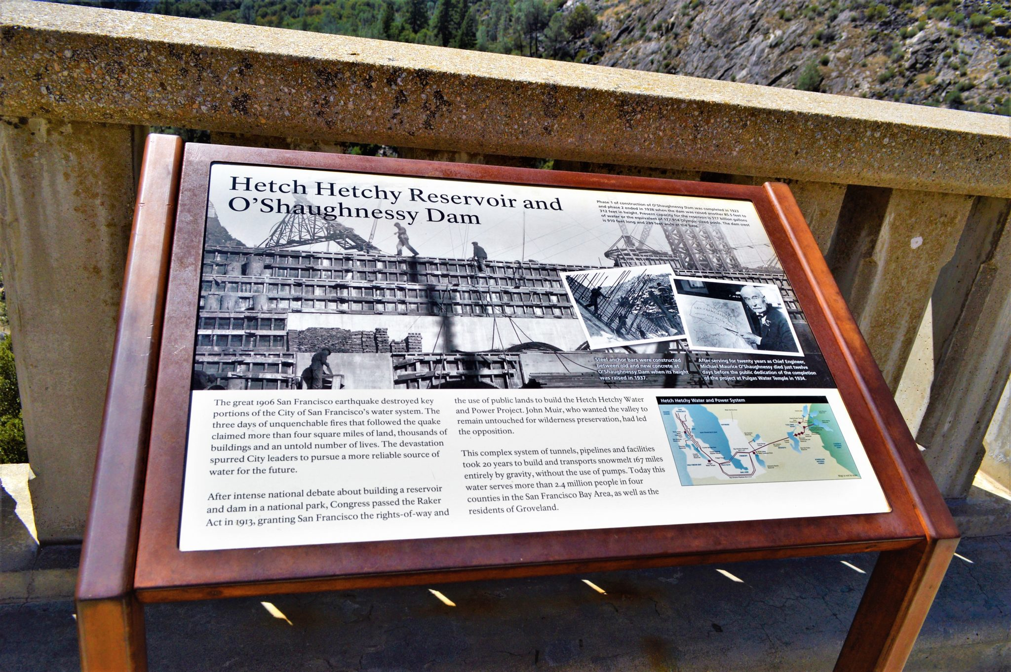 Hetch hetch o'shaunassey Dam, California information board