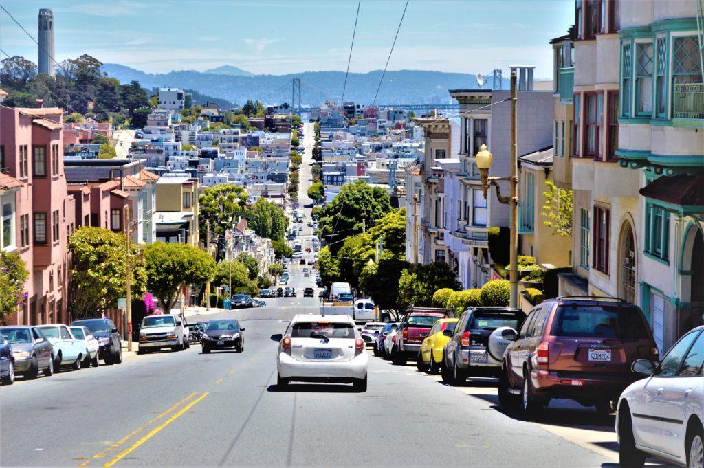 Hilly street, San Francisco, USA