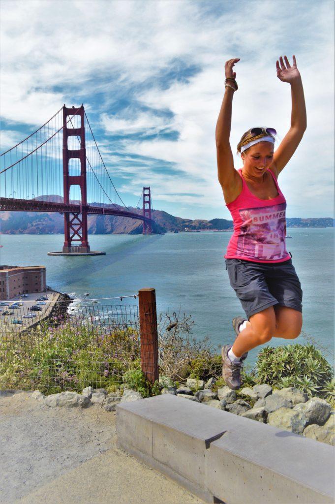 Jumping by Golden gate Bridge, San Francisco, USA