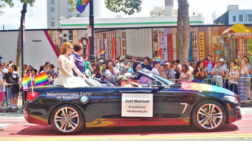 Just Married car, san francisco gay pride parade